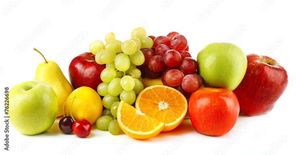 Ripe fruits isolated on white background