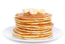 Stack Of Delicious Pancakes With Butter And Honey Isolated