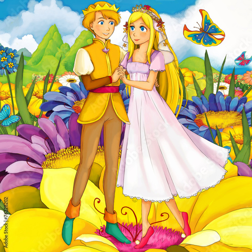 Tuinposter Sprookjeswereld Cartoon fairy tale scene - illustration for the children
