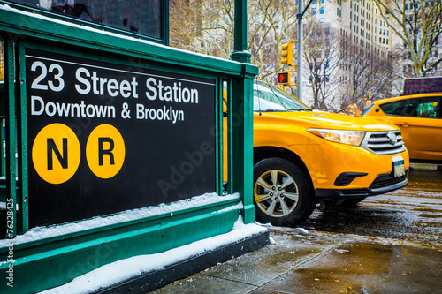 Poster New York TAXI New York City Street and Subway Scene