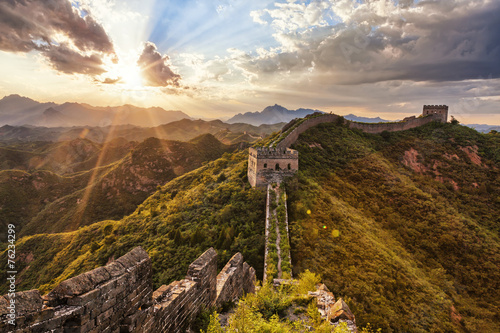 Fotografie, Obraz  skyline and great wall during sunrise