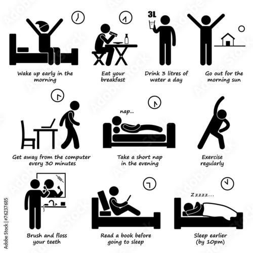 Cuadros en Lienzo Healthy Lifestyles Daily Routine Tips Pictogram
