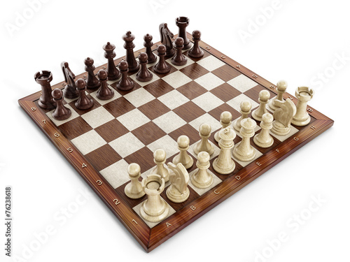 Fotografia Chess board with wooden chess pieces