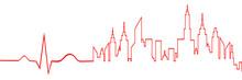 City Life Skyline Abstract On ECG Line Monitor