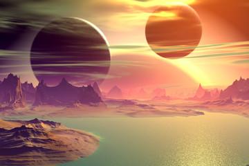 Fototapeta 3D rendered fantasy alien planet. Rocks and lake