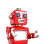 Cute red robot raising hands and look forward stably.