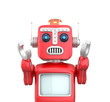 Red vintage robot raising hands up and looks sorrowly