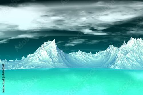 Poster Glaciers 3D rendered fantasy alien planet. Highlands