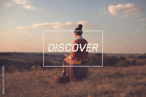 Valokuva  Motivation card for discover the world