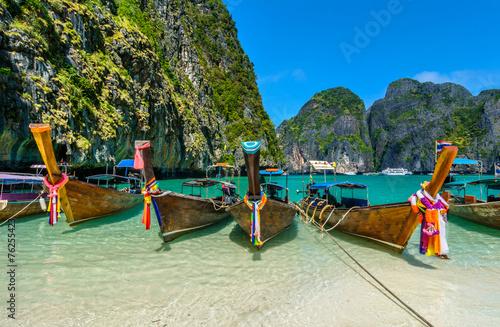Photo  Long-tail boats in Maya Bay, Thailand
