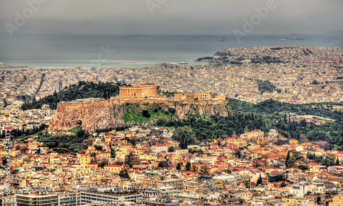 Poster Athens View of the Acropolis of Athens from Mount Lycabettus - Greece