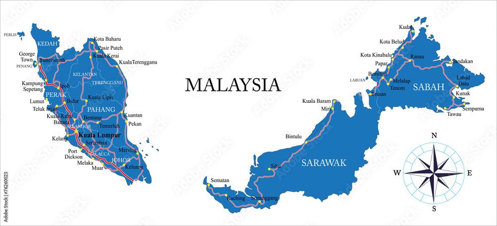 Fototapeta Malaysia map