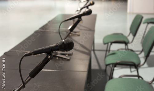 Foto op Plexiglas Fiets Conference microphones in a meeting room
