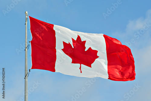 In de dag Canada Canada Flag Flying on pole
