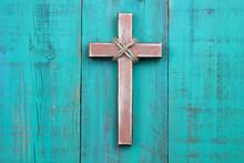 Wooden Cross Hanging On Antiqu...