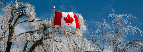 Spoed Foto op Canvas Canada Ice Covered Trees Behind a Canadian Flag - Banner