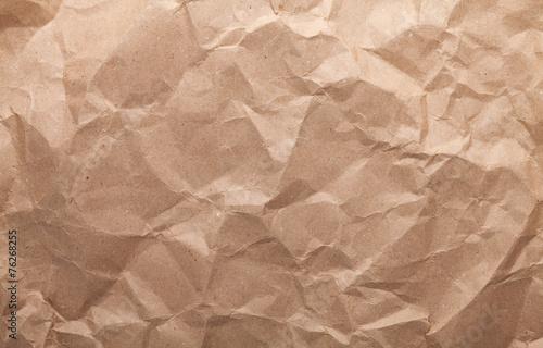 Fényképezés  Rumpled brown cardboard paper