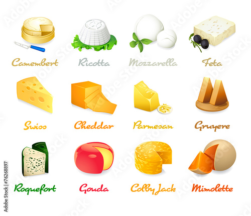 Fotografie, Obraz  Most popular kind of cheese icons isolated