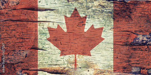 Canada flag on Birch Bark