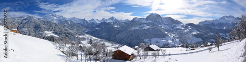 Panoramique vallée de Manigod - Haute-Savoie - Alpes #76271630