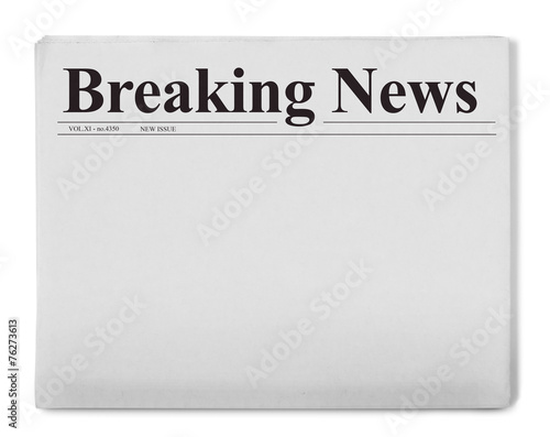 Breaking news title on newspaper Canvas Print