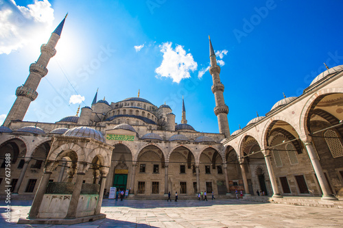 Courtyard of Sultan Ahmed Blue Mosque in Istanbul, Turkey Poster