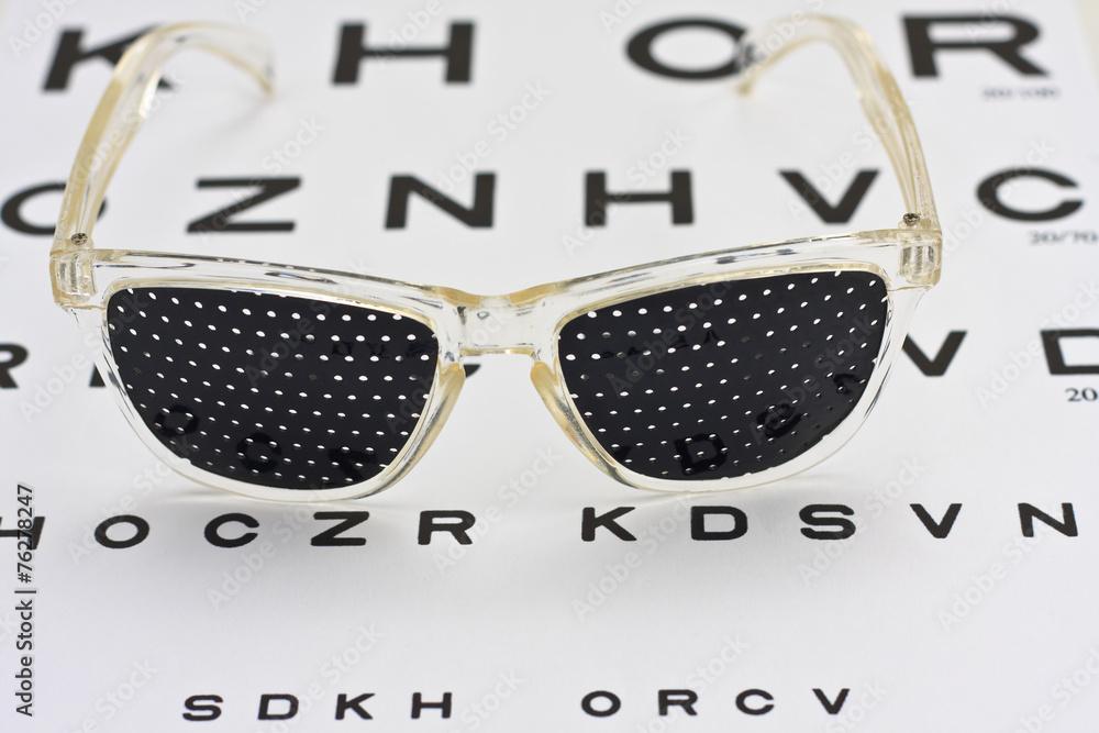 Photo Art Print Pinhole Glasses On An Children Eye Chart Europosters
