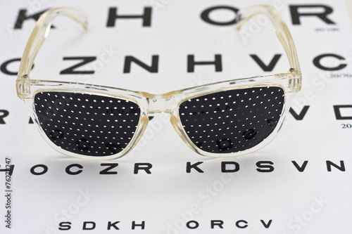 Pinhole Glasses On An Children Eye Chart Buy This Stock Photo And