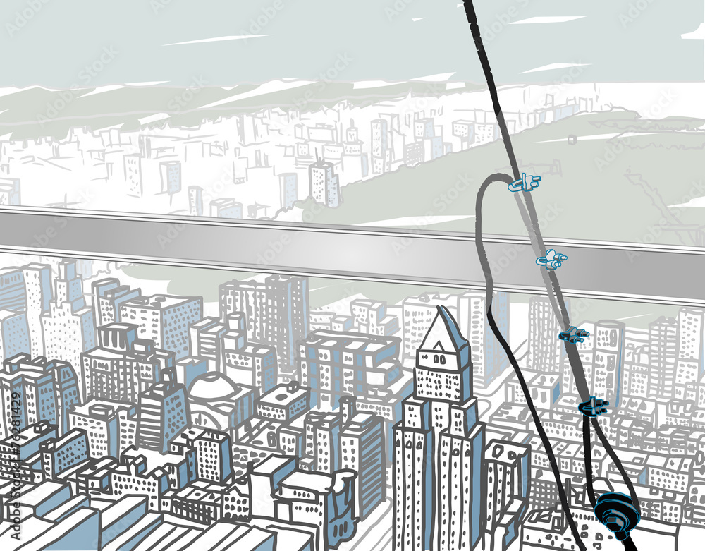 Fotografie, Tablou  Atop a Skyscraper.Abstract vector illustration of classic view