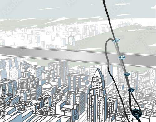 Fotomural Atop a Skyscraper.Abstract vector illustration of classic view
