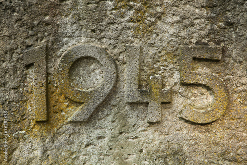 Fotografia  Year 1945 carved in the stone. The years of World War II.