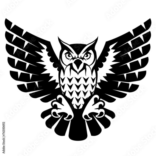 Poster Uilen cartoon Owl with open wings and claws. Black and white tattoo eagle owl