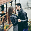 Young couple outdoor fashion portrait