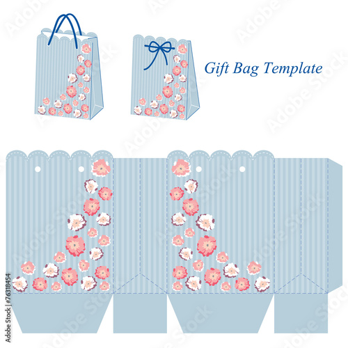 Blue Gift Bag Template With Stripes And Pink Flowers Buy This