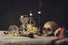 Vanitas With Skull; Pipe, Tobacco, Wine Glass, Wine And Grape