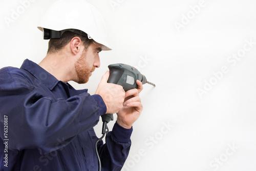 Foto op Aluminium Graffiti man drilling