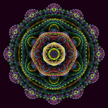 Round 3D Mandala On Purple Bac...
