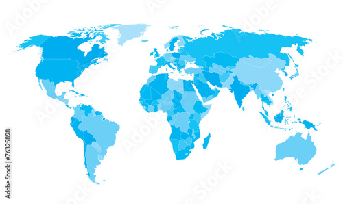 Staande foto Wereldkaart World map countries white outline cyan EPS10 vector