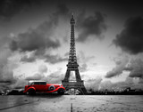 Fototapeta Wieża Eiffla - Effel Tower, Paris, France and retro red car. Black and white