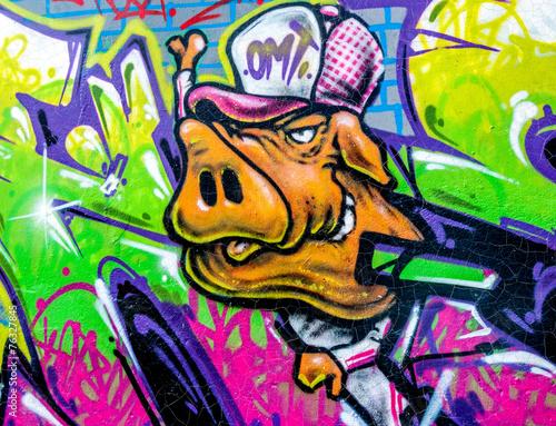 plakat Graffiti cochon