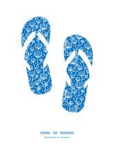 Vector Blue White Lineart Plants Flip Flops Silhouettes Pattern