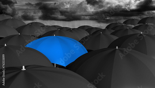 Fototapety, obrazy: Leadership concept of a blue umbrella different from the rest