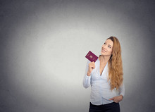 Smiling Happy Woman Standing Holding Passport Looking Up Imagini