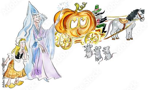 Fotografie, Obraz  Cinderella and fairy godmother making fairy pumpkin carriage