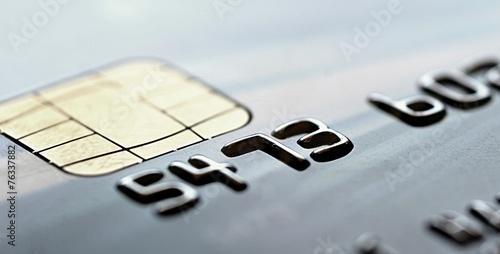 Fotografía  Chip of the gray credit card, closeup shot.