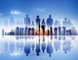 Back Lit Business People Corporate Cityscape Concept