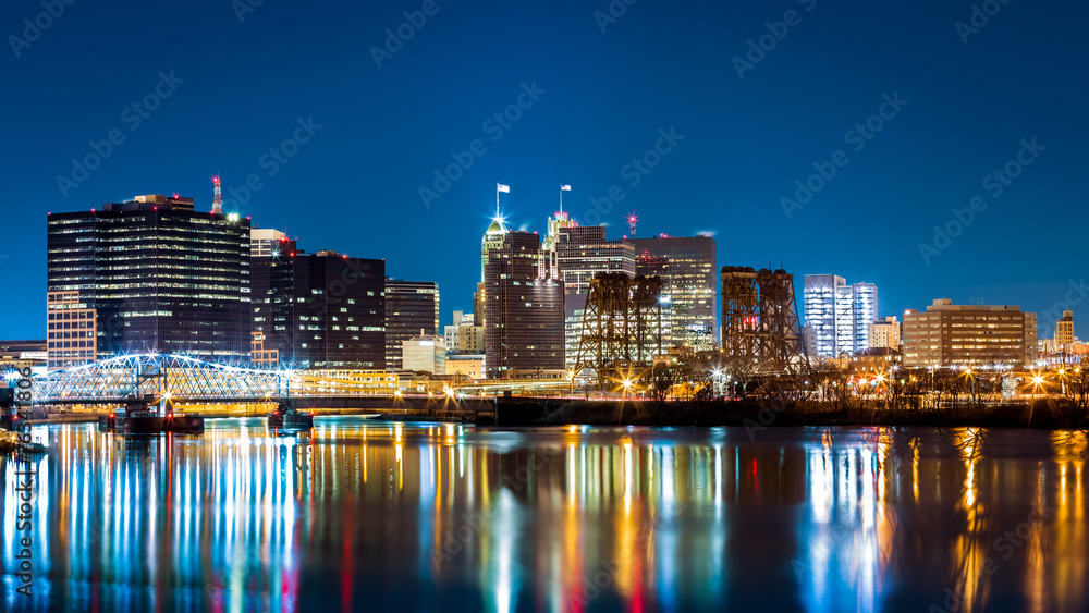 Fototapety, obrazy: Newark, NJ cityscape by night