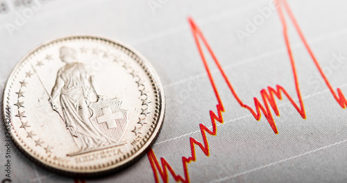 Fotografia, Obraz One Swiss Franc coin on fluctuating graph. Rate of the Swiss Fra