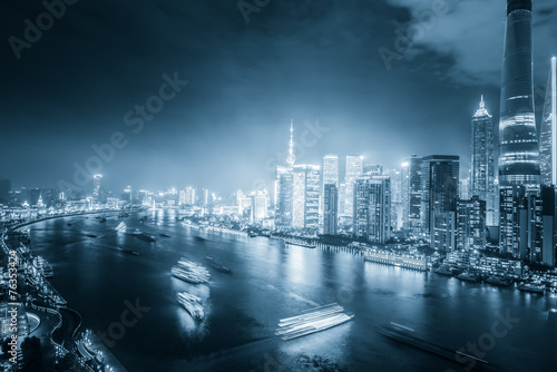night shanghai skyline with reflection ,beautiful modern city Poster