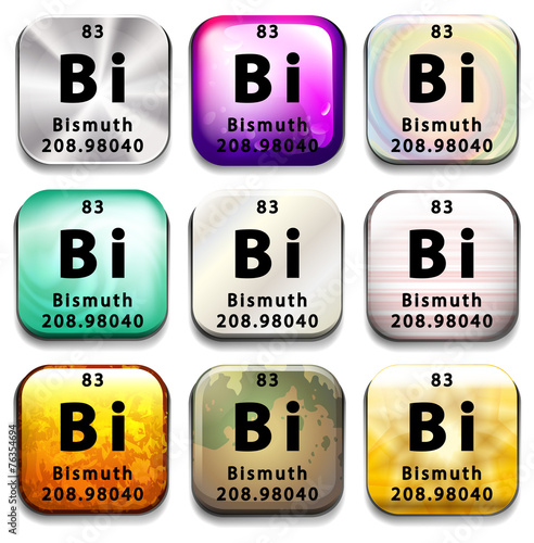 Poster  A button showing the element Bismuth
